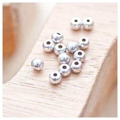 Perle en métal Ronde 5mm Argent vieilli