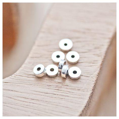 Perle en métal Ronde 5mm Rondelle Argent vieilli
