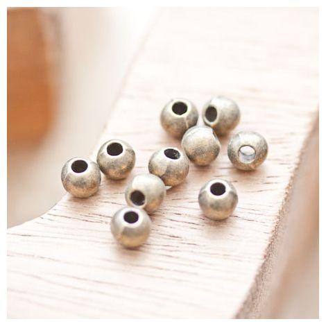 Perle en métal Ronde 6mm/2mm Bronze vieilli