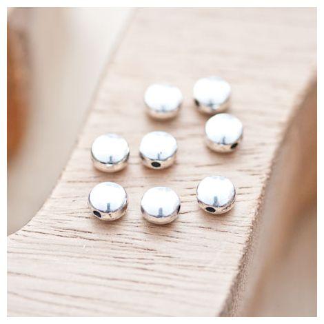 Perle en métal Ronde 6mm Plate Argent vieilli