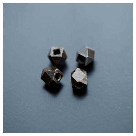 Perle en métal Ronde 7x8mm Facettes Bronze vieilli