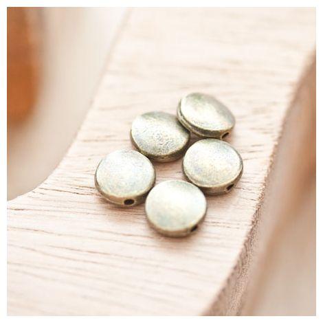Perle en métal Ronde 9mm Plate Bronze vieilli