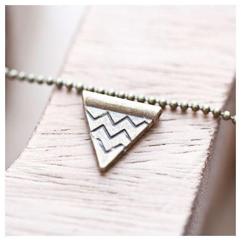 Perle en métal Triangle chevrons 14mm Bronze vieilli