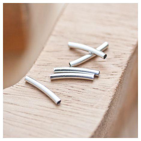 Perle en métal Tube 15x2mm Courbé Argent gris