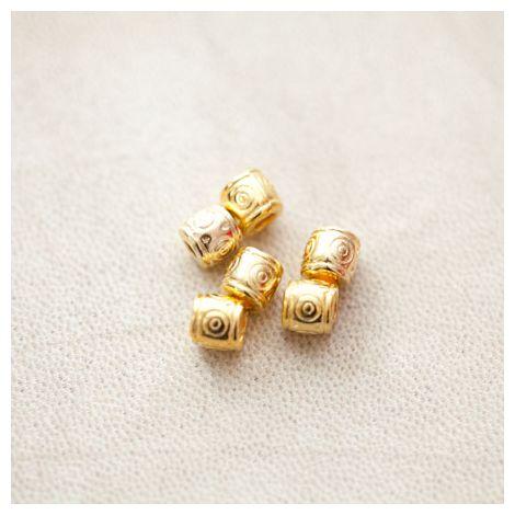 Perle en métal Tube 6.5x6mm Motifs Doré