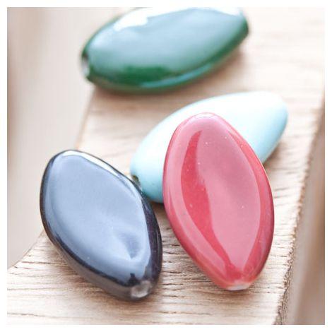 Perle en porcelaine Ovale 23x13mm Couleur mixte