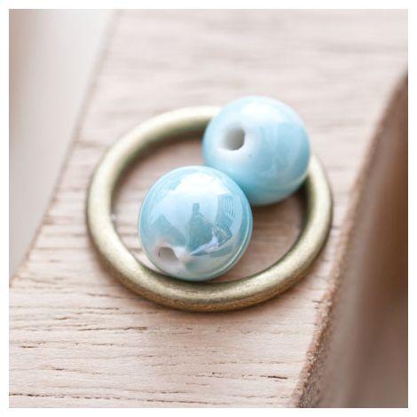 Perle en porcelaine Ronde 10mm Bleu eau