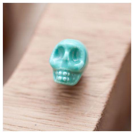 Perle en Porcelaine Tête de mort - Skull 13mm Bleu Turquoise