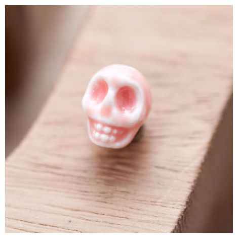 Perle en Porcelaine Tête de mort - Skull 13mm Pêche