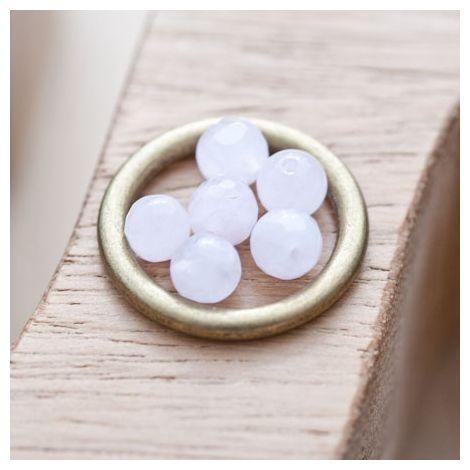 Perle en Quartz Ronde 6mm Facettes Rose