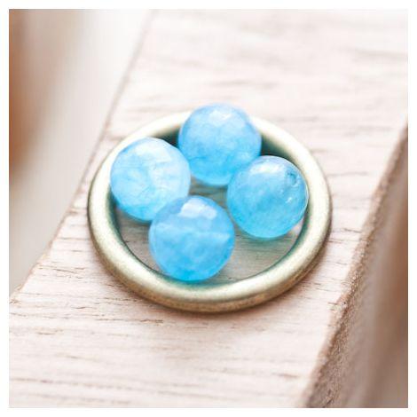 Perle en Quartz Ronde 8mm Facettes Bleu