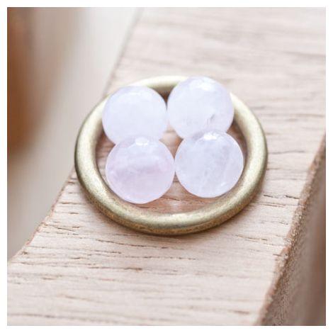 Perle en Quartz Ronde 8mm Facettes Rose