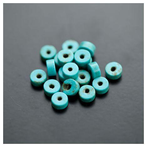 Perle en Turquoise Synthétique Pastille 6x3mm Bleu Cyan