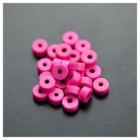 Perle en Turquoise Synthétique Pastille 6x3mm Rose intense