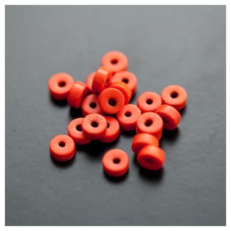 Perle en Turquoise Synthétique Pastille 6x3mm Rouge Orange