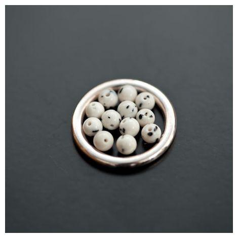 Perle en Turquoise Synthétique Rond 4mm Blanc Dalmatien