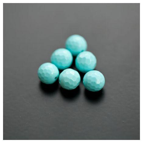 Perle en Turquoise Synthétique Rond 8mm Facettes Bleu