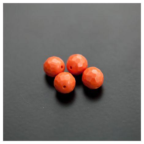 Perle en Turquoise Synthétique Rond 8mm Facettes Corail