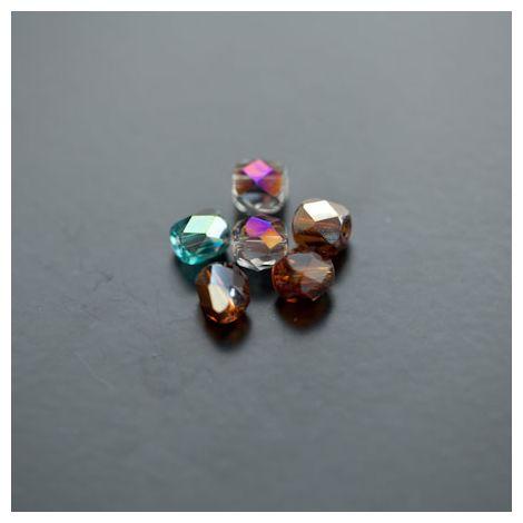 Perle en verre 6mm Transparent Mi-miroir Couleur Mixte