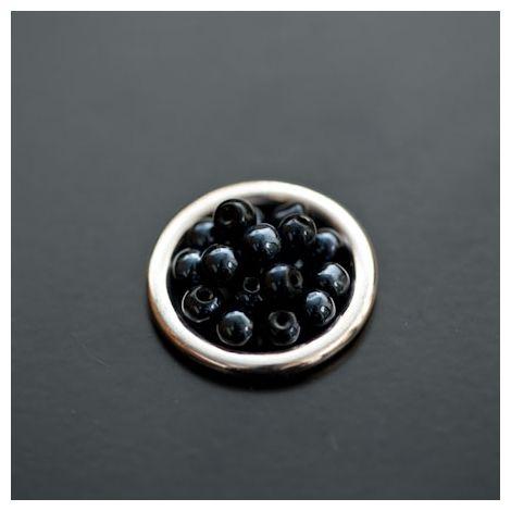 Perle en verre Boulier 6mm Noir miroir x 10