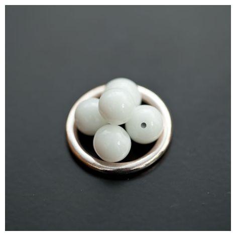 Perle en verre Rond 8mm Blanc