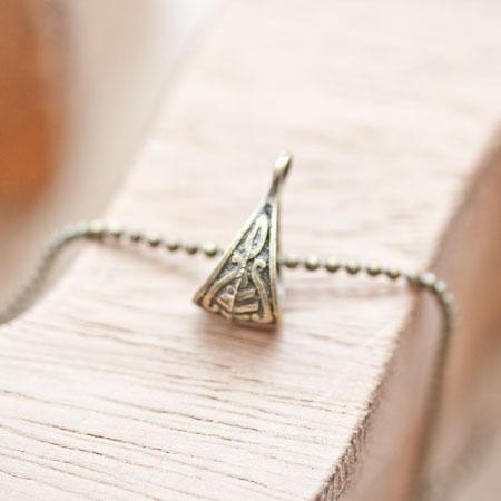 Breloque Accroche triangle à motifs Bronze vieilli x 6