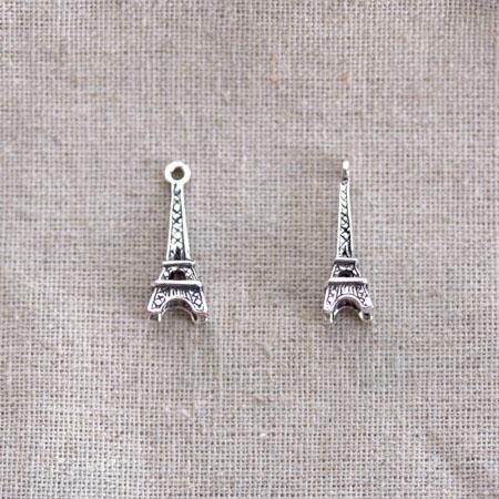 Breloque Tour Eiffel Argent vieilli x 10