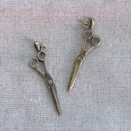 Breloque Ciseaux pointus Bronze vieilli x 2