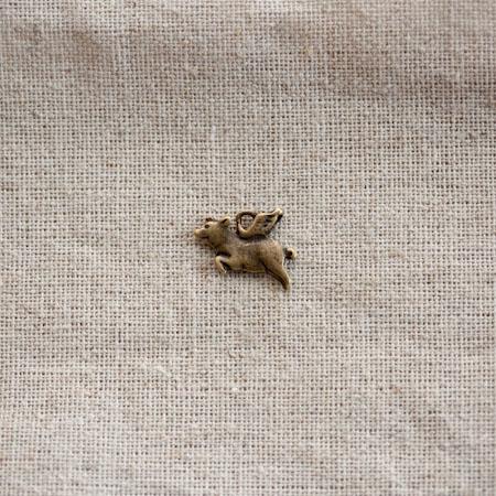 Breloque Petit cochon volant Bronze vieilli