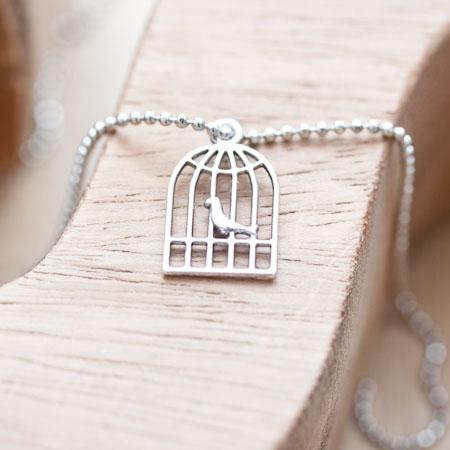 Breloque Cage à oiseaux plate Argent vieilli x 6