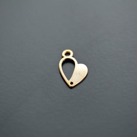 Breloque Coeur demi plein 17mm Doré vieilli x 15pcs