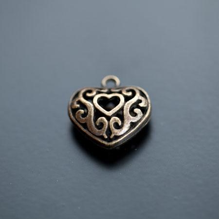 Breloque Coeur Filigrane 2cm Bronze vieilli x 2pcs