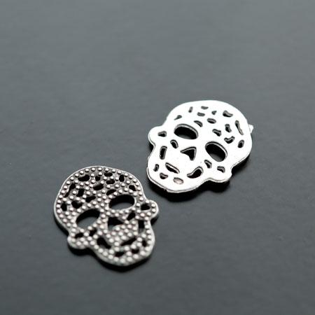 Breloque Connecteur Tête de mort - Skull plat filigrane Argent vieilli x 8