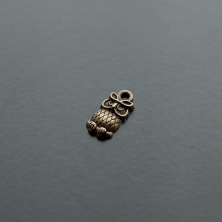 Breloque Mini Hibou Bronze vieilli x 14