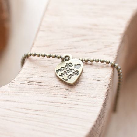 Breloque Petit coeur Made with love Bronze vieilli x 14