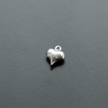 Breloque Petit Coeur Relief Argent gris x 20