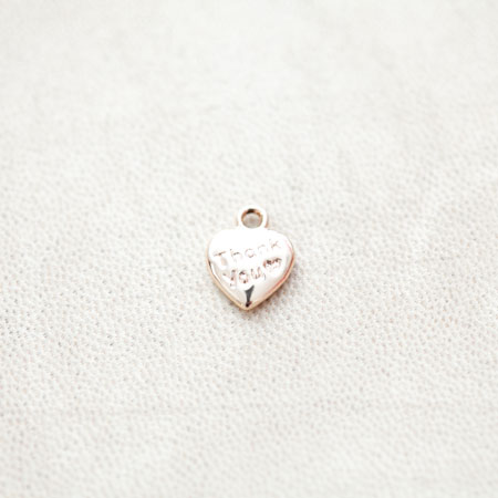 Breloque Petit Coeur Thank you 13x10mm Doré x 1pc