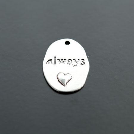 Breloque Plaque Ovale Coeur Always Argent vieilli x 4