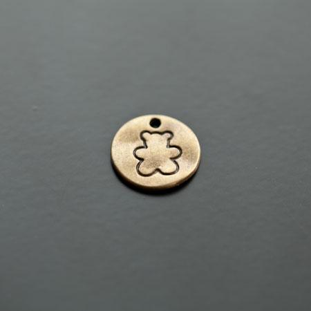 Breloque Plaque Ronde 15mm Ours Bronze vieilli x 6