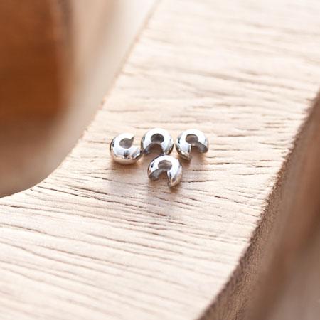 Cache perle à écraser 4mm Argent gris x 20