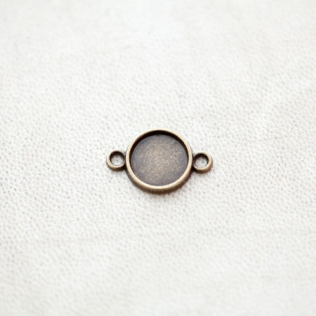 Connecteur à Cabochons Rond 10mm Bronze vieilli x 16pcs
