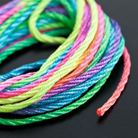 Cordon Nylon 2mm Multicolor Arc en ciel x 3m