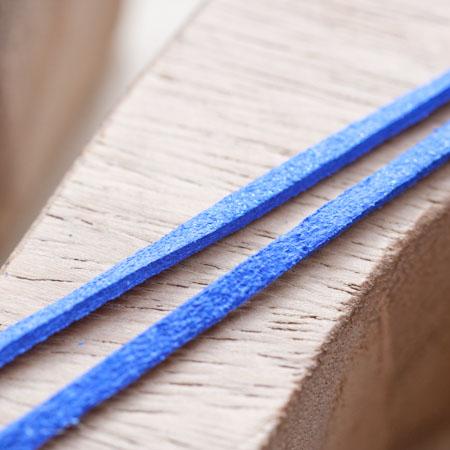 Cordon Suédine 3mm Lanière Bleu paillettes x 3m