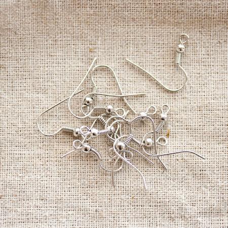 Crochet d'oreille à boule Argent gris x 40