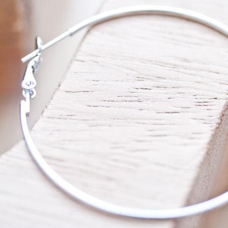 Crochet d'oreille Anneau 45mm Argent gris x 2
