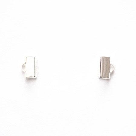 Embout bracelet tissu/ruban 1,0cm Argent gris x 10