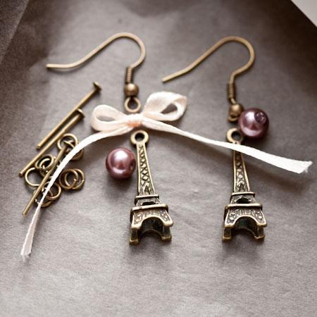 Kit création Boucles d'oreilles Parisiennes Bronze vieilli