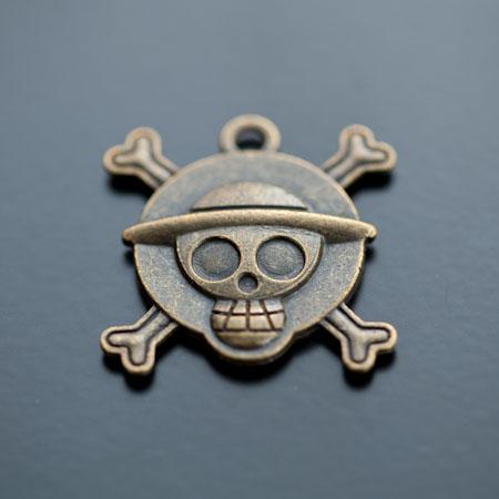Pendentif à Cabochon 20mm Pirate Bronze vieilli x 2pcs