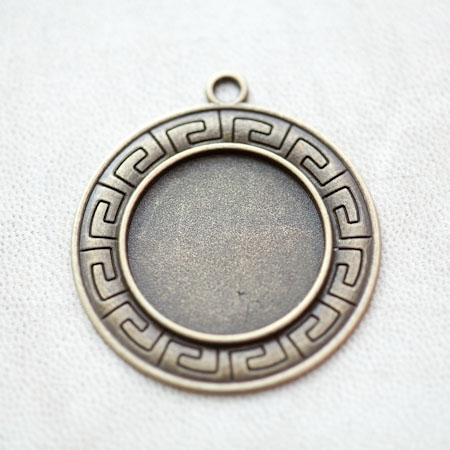 Pendentif à Cabochon 25mm Contour Ancien Ethnique Bronze vieilli x 2pcs