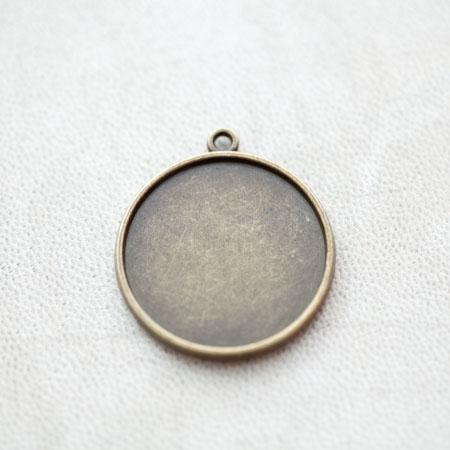 Pendentif à Cabochon Rond 25mm Bronze vieilli x 4pcs